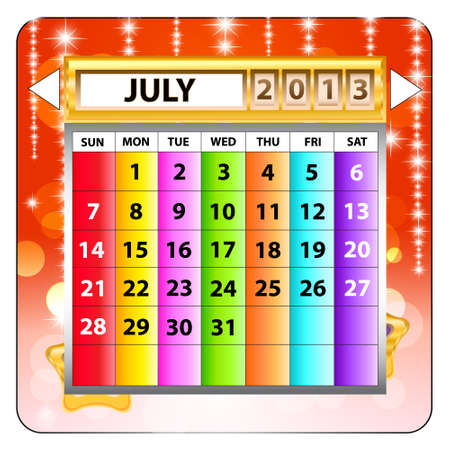 July 2013 calendar  Happy new year Stock Vector - 15143215