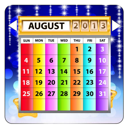 August 2013 calendar  Happy new year  Vector