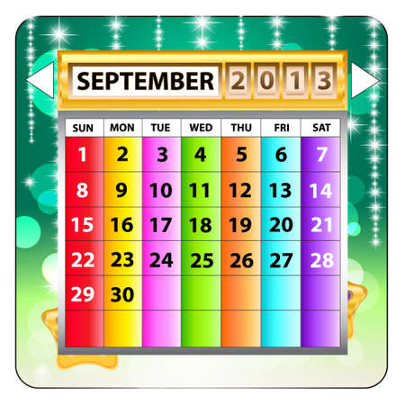 September 2013 calendar  Happy new year