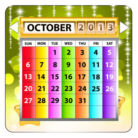 October 2013 calendar  Happy new year