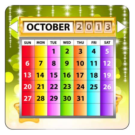 October 2013 calendar  Happy new year
