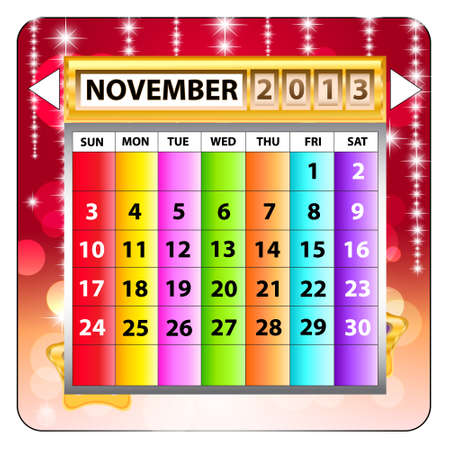 November 2013 calendar  Happy new year