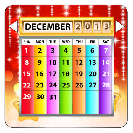 December 2013 calendar  Happy new year