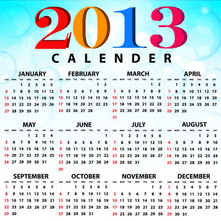 2013 Calendar full year  12 months   Vector
