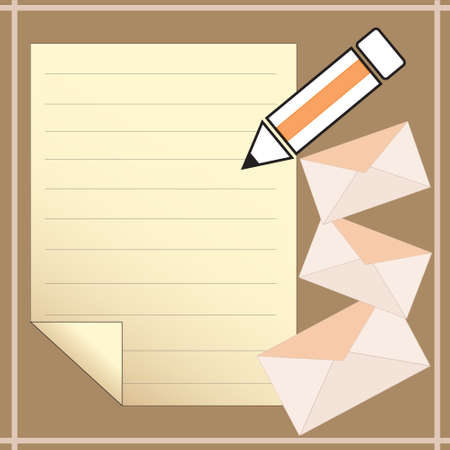 Note paper with pencil and Envelope  illustration Vector