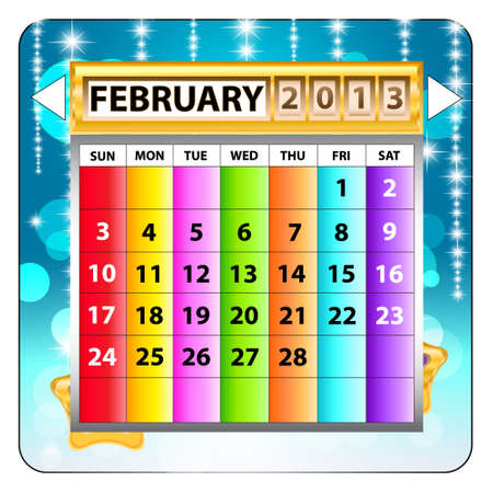 February 2013 calendar  Happy new year Stock Vector - 15143224