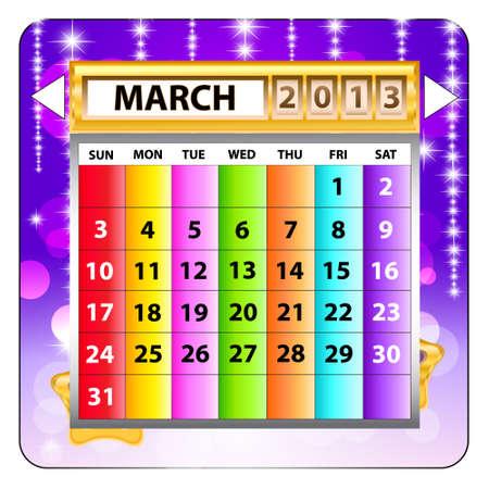 March 2013 calendar  Happy new year Stock Vector - 15143220