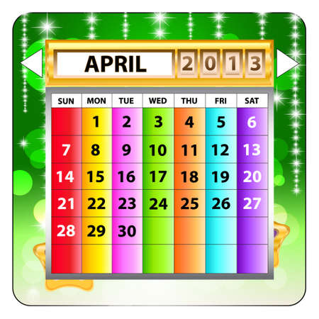 April 2013 calendar  Happy new year   Illustration