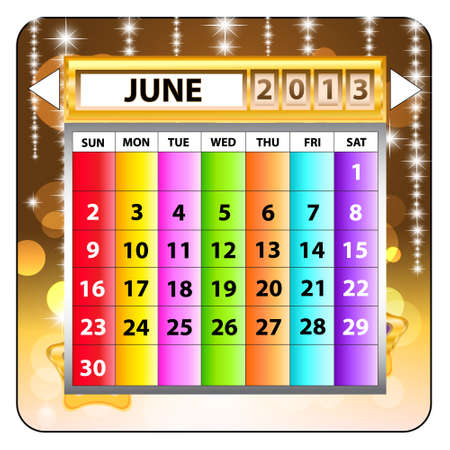 June 2013 calendar  Happy new year   Illustration