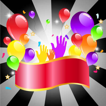 Colorful balloon on black background with copy space Happy party