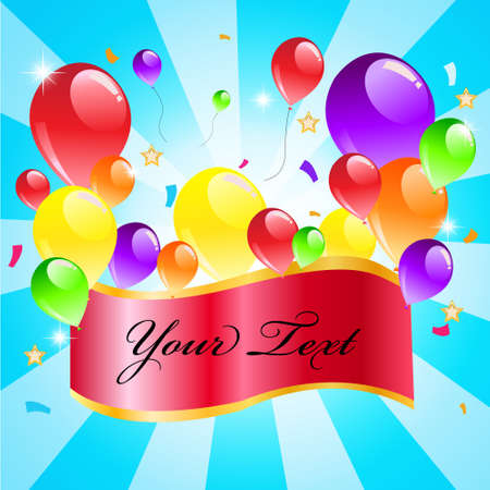 Colorful balloon on blue background with sample text Happy party  Illustration