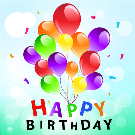 Colorful balloons on blue background with happy birthday text   Vector