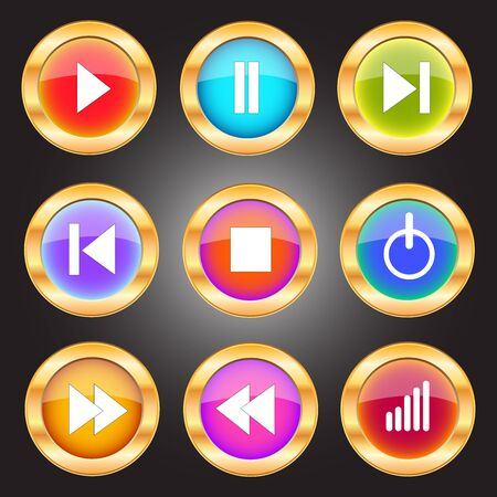 Set of Media Player Icons in circle shape and many colors