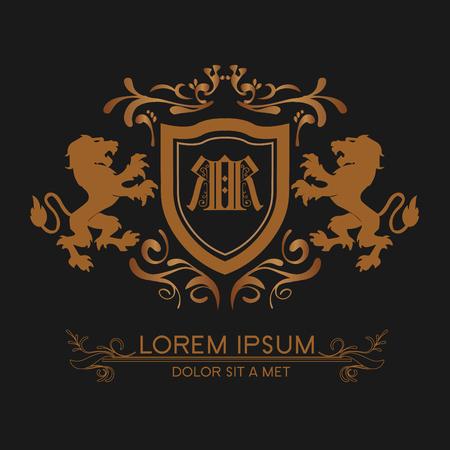 logo de luxe en or avec des lions Logo