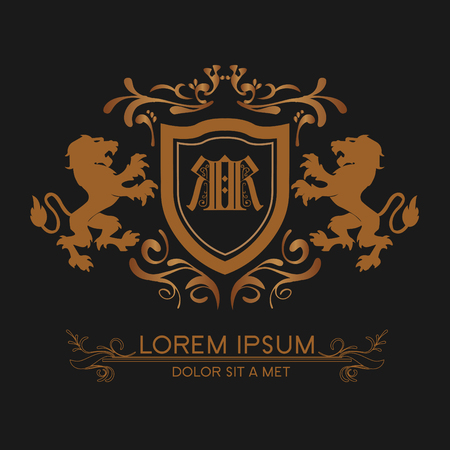 luxury logo gold with lions Logó