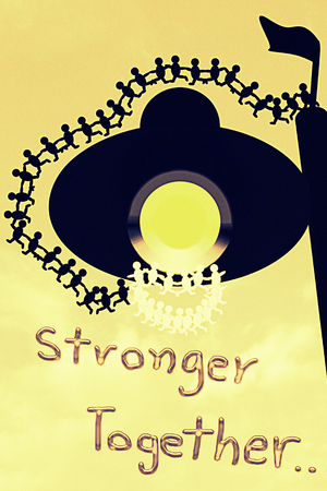stronger: Stronger together : Love unity concept in vintage style