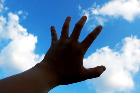 environmentalist: Hand touch the sky : Environmentalist concept