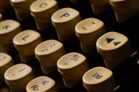 Close up of old typewriter keys, shallow focus.
