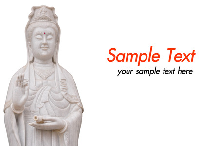 jade buddha temple: The GuanYin buddha statue on white background Stock Photo