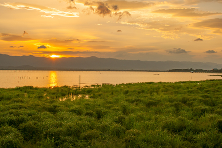 garish: Sunset time at Kwan Phayao, Thailand