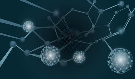 illustrates: Scientific theme illustrates structure of atom