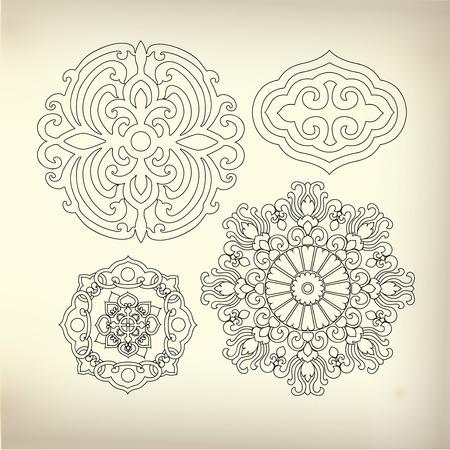 illustrators: line of art for decorative design Illustration