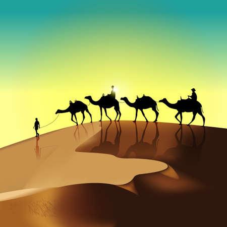 sunburn: silhouette of travellers in the desert Illustration