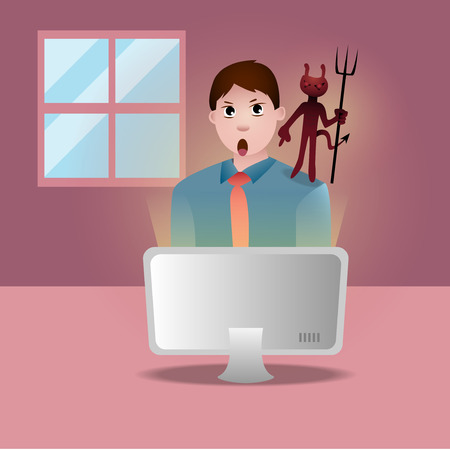 be aware: be aware when youre online in the internet world Illustration