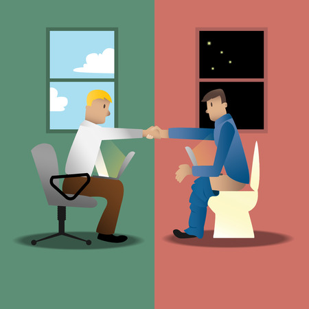 sales person: online business happens all the time Illustration
