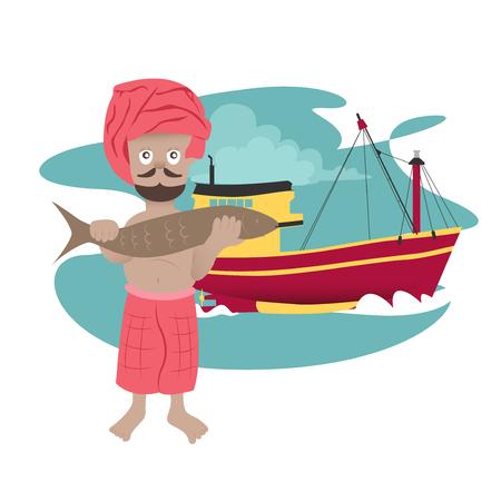 seaman: traditional fisherman in Asia Illustration