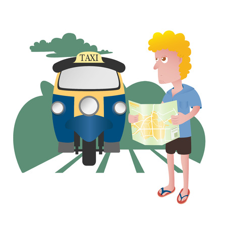 foreigner: Character of a tourist traveling in Asia Illustration