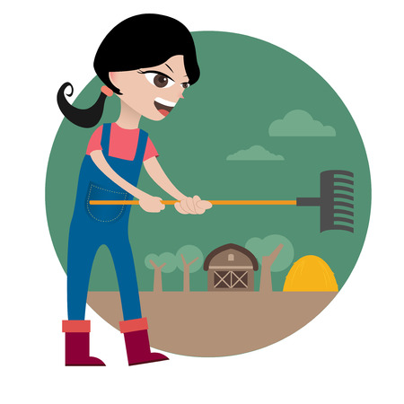 harrow: Character of farm girl in bright colour Illustration