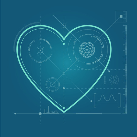 calculating: blue print of love or heart in graphic style Illustration