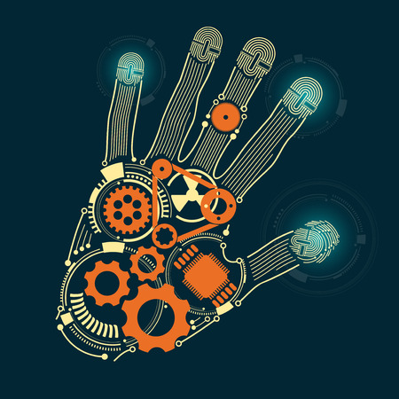 advancing: graphic of a hand in technological look