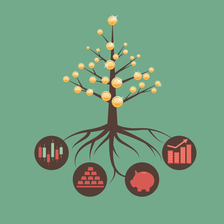 banco dinero: Metáfora de la inversión y gestión de activos Vectores