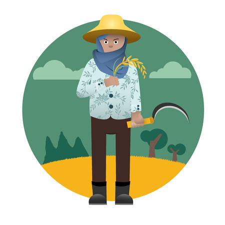 asian farmer: character of Asian Traditional farmer Illustration