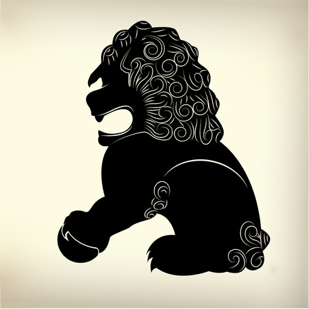 symbolics: symbol of traditional Chinese lion Illustration