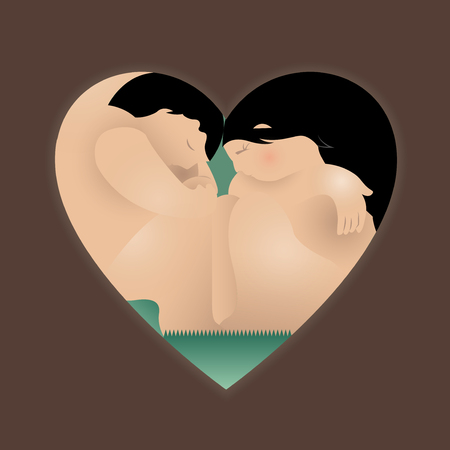 couple sleeping: heart combined with man and woman