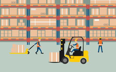 carretillas almacen: gráfico de trabajar en el almacén