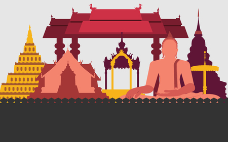 monasteries: graphic of traditional Thailand Illustration