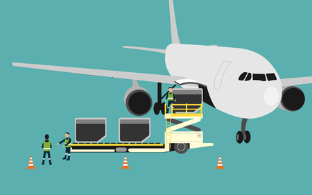 airplane cargo: graphic of airplane cargo loading