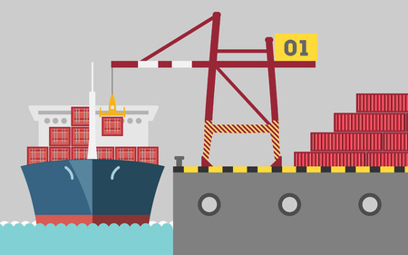 port: graphic of cargo port Illustration