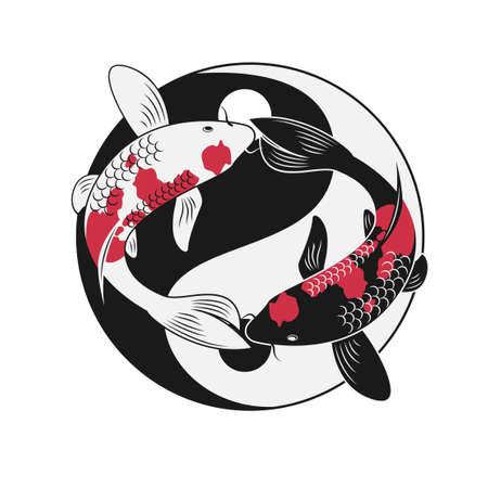 refer: Koi fish refer to yin-yank Illustration