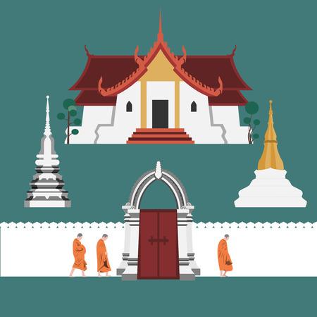 monasteries: Thai Temple Illustration
