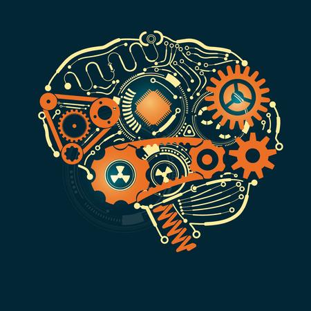 brain in mechanical look