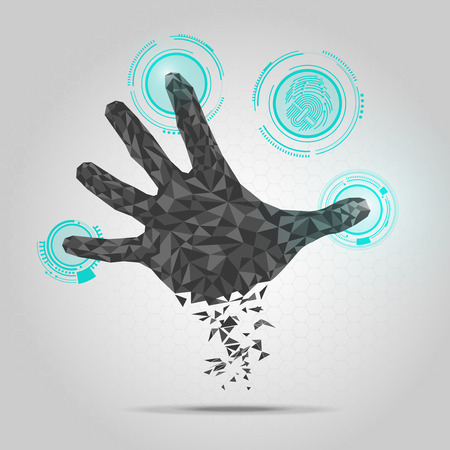 graphic of a hand in technological look
