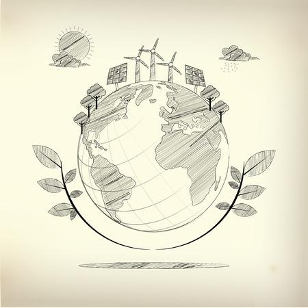 ecosistema: gráfica del ecosistema en un estilo de dibujo