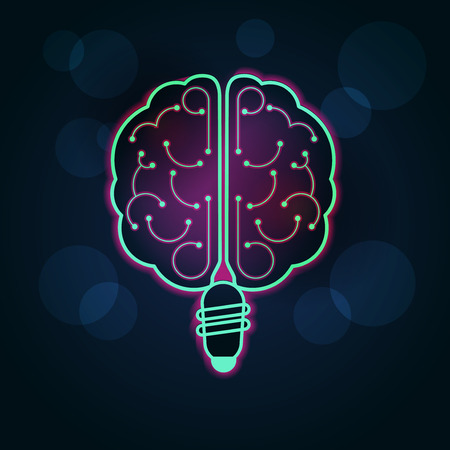 combining: Graphic of brain combining with light bulb Illustration