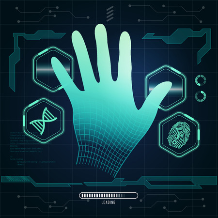 computer scientist: Graphic of a wireframe hand