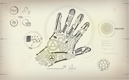 cybernetics: drawing blueprint of scientific hand